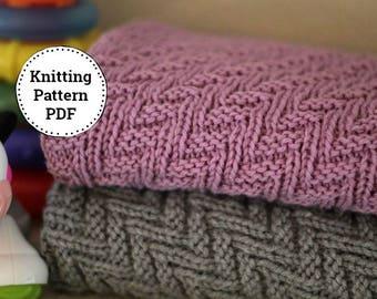 Knitting Pattern Baby Blanket Reversible  Blanket  Beginner Knitting Pattern Stroller Blanket Pattern Instant Download PDF Crib Blanket