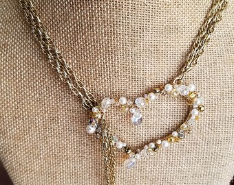 Crystal and Pearl Heart Necklace