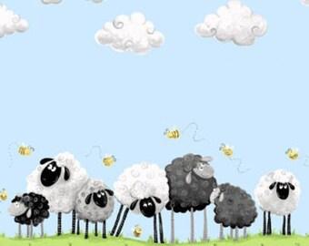 "Susybee Fabric, Nursery Fabric : Lewe, the ewe - sheep on green grass border on blue sky 100% cotton fabric by the yard 36""x42"" SB55"