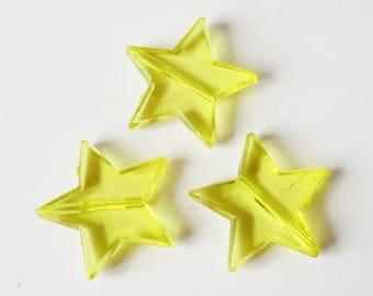 5 x beads 22mm yellow plastic star
