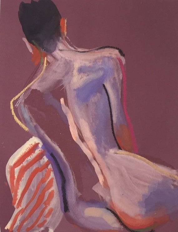 Nude painting- Original watercolor painting of Nude #1501 by Gretchen Kelly