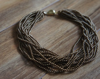 Estate Vintage Jewelry Brown Necklace Bronze Beaded 16 Strand B-038