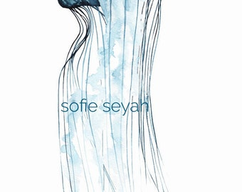 Jellyfish - Sofie Seyah Illustration - Indigo Watercolour and Ink Nautical Art Print