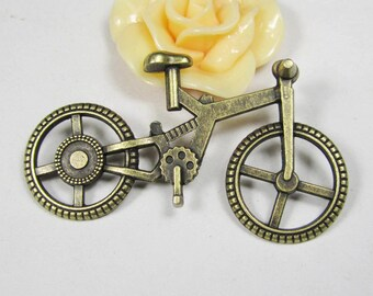 Bicycle Charms -5pcs Antique Bronze Steampunk 3D Bike Charm Pendants 33x51mm C501-1