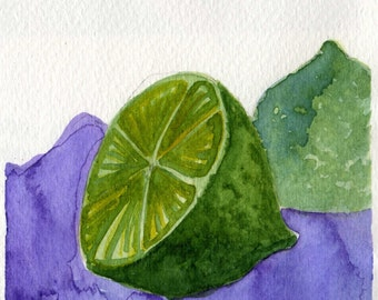Watercolor Painting: Watercolor Illustration -- Art Print --  Lime  -- 5x7