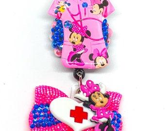 Sale - Minnie Mouse - Nurse Badge - Badge Holder - Retractable Badge - ID Holder - Badge Reel - Badges - Nurse Badge Holder - ID Badge