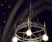 ILLUMINATED CHANDELIER, Drogheda, Co. Louth, IRELAND, Medieval Decor, Old Cathedral, St. Peter, Black and White, Twinkling Stars, Chic Photo