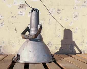 Vintage industrial spotlight (huge salvaged factory retro lighting light fixture home decor Hungarian unique old style large)