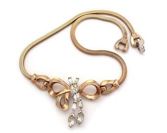 "Mazer Necklace Rhinestone Bow, Marquis Rhinestone Dangles, Vintage Mazer Unsigned, 1940s Necklace Snake Chain Trifari Style, Choker 14.75"""