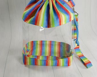 Small Clear Knitting Project Bag, Narrow Pastel Rainbow Stripes, Clear Vinyl Bag, Sock Knitting Bag, Clear window drawstring bag CVS0050