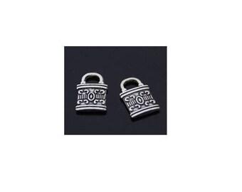 SET of 5 mini charms padlock key color Silver (C02)