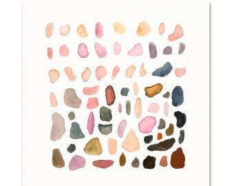 Watercolor Coastal Pebbles Art Print. Autumn Colored Stones. Zen Pebble Painting. Beach House Art. Children's Room Art.