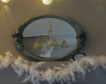 Oval Art Deco mirror with flowers decor