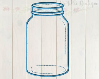 Jar, Mason Jar, 5x7, embroidery file, pes, dst, exp, jef, vip, vip3, xxx, instant download
