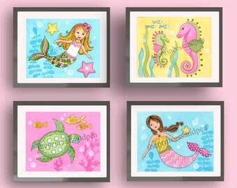 Mermaid art prints,  mermaid bedroom decor, mermaid bedding, girl ursery art, girl bathroom wall art