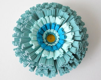 Magnet, Handmade Paper Flower - Teal, Turquoise, Blue, Green, Sea Foam, Bluegreen, Round, Circle, Decor, Organization