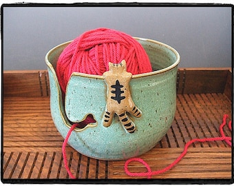 Yarn Bowl with Cute Tabby Cat in Turquoise by misunrie