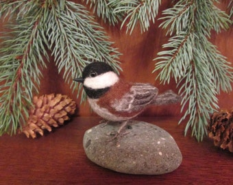 Needle Felted Bird, Chestnut-backed Chickadee, Life Sized Posable finch-MADE TO ORDER- Miniature Bird Decoration-Felted Animal-songbird