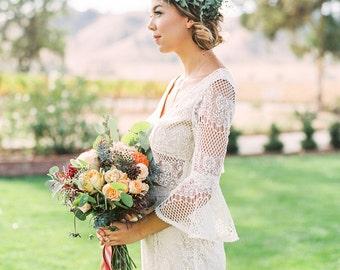 Boho bridal top, wedding lace crop top, flutter bell sleeves for brides designed for bohemian weddings, winery weddings, and garden weddings