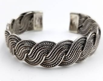 Wide Serpentine Sterling Silver Cuff Bracelet