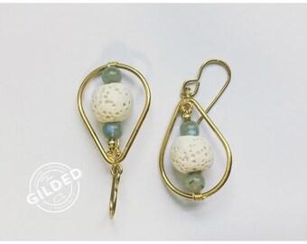 Winifred Drops — labradorite white lava stone gold pumice essential oil diffuser jewelry, doterra, young living oiler hippie nashville boho