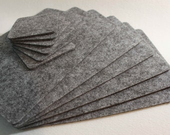 ONLY GREY Placemats and coaster Simple Shape Quadrat Rectangle Felt Table Mats Set of 12 pieces