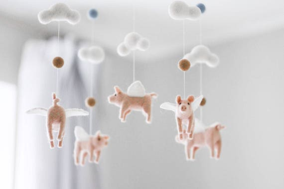 Flying pig baby mobile needle felted baby mobile pig baby aloadofball Images