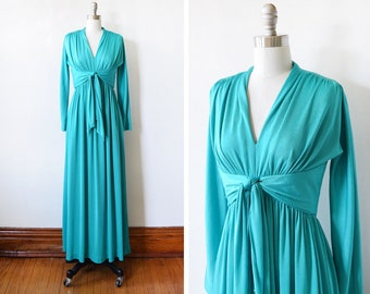 vintage 70s dress, 1970s disco dress, Lord and Taylor teal  gown, xs/s extra small/small