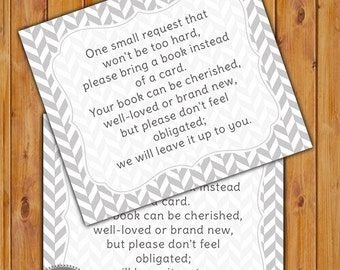 In Lieu of card, Book Baby Shower Invitation Inserts Instead of a card Grey herringbone pattern Printable PDF--Instant Download