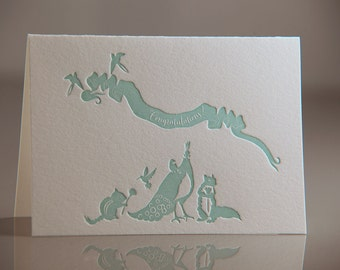 Congratulations Card - Turquoise Birds and Animals Card - Wedding Card - Congratulations Letterpress Card - Peacock, Chipmunk, Squirrel Card