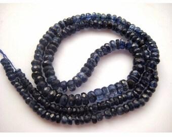 Blue Kyanite Bead, Kyanite Rondelle Beads, Faceted Rondelle Beads, Faceted Kyanite, 3mm To 5mm Each, 18 Inch Full Strand, 90 Pieces Approx