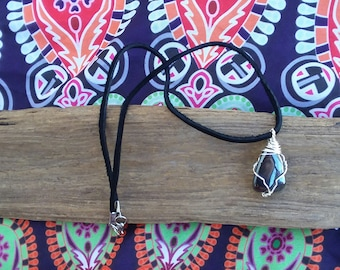 Hematite.wire wrapped pendant.Natural hematite.hippie necklace. Wire wrapped obsidian.obsidian necklace.obsidian jewelry