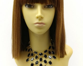 11 inch Mixed Auburn Copper and Strawberry Color Straight Blunt Bob w/ Bangs Heat Resistant Synthetic Wig. [27-166-Sherry-27C/2933]
