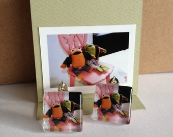 Glass Tile Photo Earrings - Two Frogs