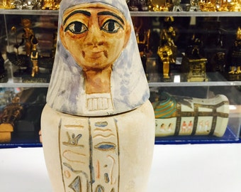 Vintage  Egyptian Hand Carved Goddess Isis CanopicJar Made in Egypt