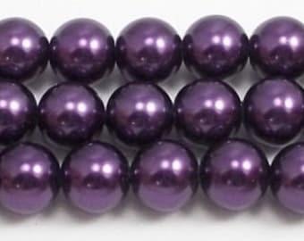 10mm Purple Glass Pearl Beads 1 strands #10GPPU