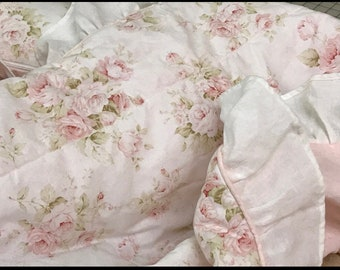 Quilted Crib Blanket with Ruffled Perimeter-3 Long Crib Bows-Ruffled Crib Pillow-Floral Fabric and Pale Pink Washed Linen
