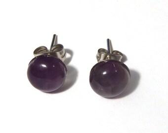 Amethyst Stud Earrings, Amethyst Studs, Amethyst Earrings, Gemstone Stud Earrings, Amethyst Jewelry, Amethyst, Birthstone Earrings, Studs