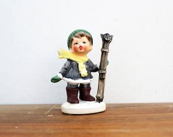 vintage 50s Made in Japan Cute Little Boy Skier Winter Christmas Figurine Figure