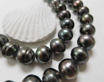 12x14mm Dark Circle Button Tahitian Necklace Strand