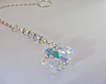 Crystal suncatcher, Snowflake suncatcher, Crystal snowflake rainbow maker, Swarovski snowflake, Crystal AB mobile, Housewarming gift