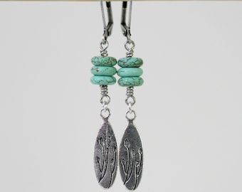 Turquoise Magesite Dangling Antiqued Silver Boho Style Earrings