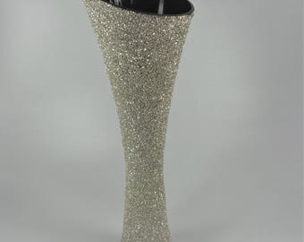 Large glass vase decorated with silver German Glass glitter