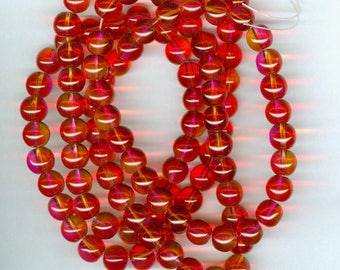 Red Spacer Beads, 8mm Hot Pink, Red and Yellow Glass Round Spacer Beads 32 in strand of 100 Beads