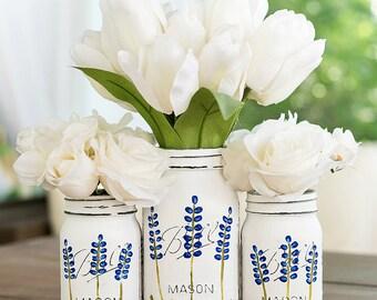Painted Texas Bluebonnet Flower Mason Jars - Painted Distressed Mason Jars