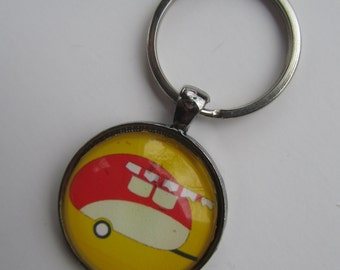 Yellow Retro Camper Key Chain, Retro Camping Key Chain, Vintage Camper Key Chain