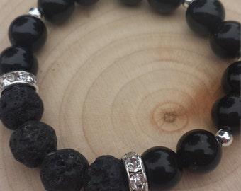 Black Obsidian Essential Oil Diffusing Bracelet
