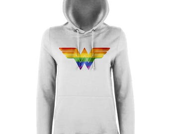 Wonder Woman Rainbow Ladies Hooded Top, Available In Multiple Colours, Inspirational Womens Hoodie