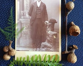 Antique Cabinet Photo - Sad Handsome Man - Old Vintage Photo - Antique Photography - Bowler Hat