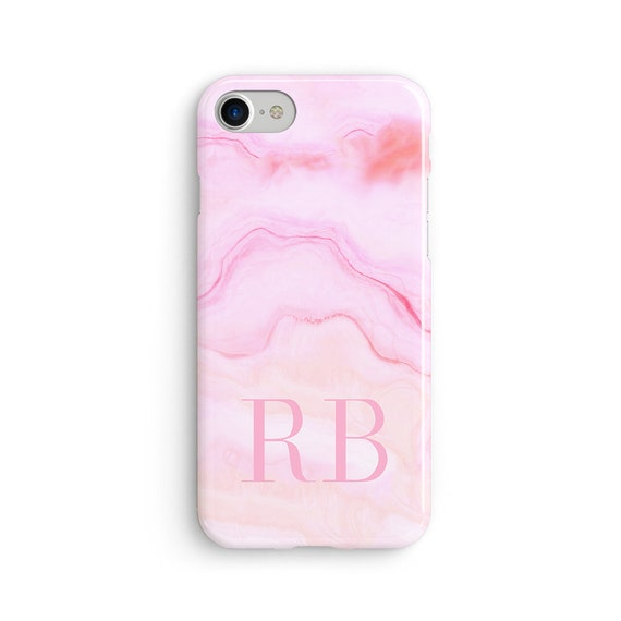 Custom large initial pink marble iPhone X case - iPhone 8 case - Samsung Galaxy S8 case - iPhone 7 case - Tough case 1P079